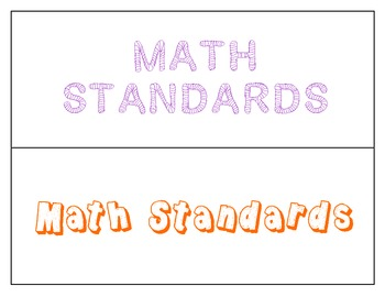 Kindergarten Math Common Core Standard Posters (Kids Friendly)