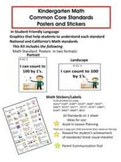 Kindergarten Math Common Core Standard Posters and Stickers
