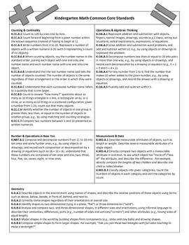 Kindergarten Math Common Core Standards