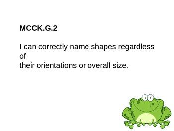Kindergarten Math Common Core Standards-Frog Theme