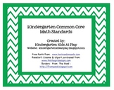 "Kindergarten Math Common Core Standards Posters ""I Can Sta"