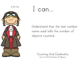 Kindergarten Math Common Core Standards Posters Theme: airport