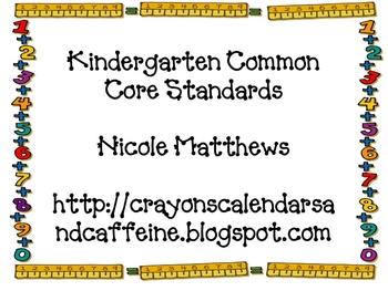 Kindergarten Math Common Core Standards Ruler Background