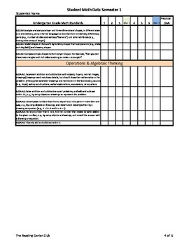 Kindergarten Math Common Core Standards Student Tracking