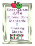 Kindergarten Math Common Core Standards and Checklists