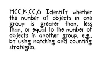 Kindergarten Math Common Core Standards one per page