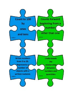 Kindergarten Math Common Core I Can Statements Puzzle Pieces B2S