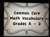Kindergarten Math Common Core Vocabulary Cards with definitions