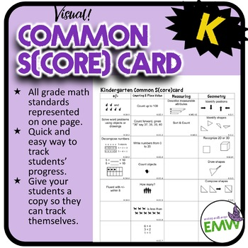 Kindergarten Math Common Score Card 1 page visual of each Common Core standard