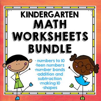 Kindergarten Math Concepts Worksheets Bundle