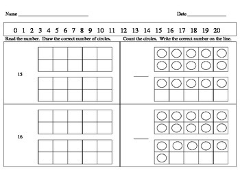 Kindergarten Math Counting Book and Worksheets (11-20)