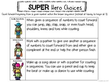 Kindergarten Math Counting FORWARD Multiple Intelligence Choice Board Menu