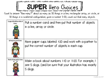 """Kindergarten Math Counting """"How Many"""" Multiple Intelligence Choice Board"""