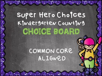 Kindergarten Math Counting Multiple Intelligence Choice Board Menu Common Core