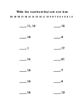 Kindergarten Math Counting One Less Numbers Up To 21 Printable Numbers At Top