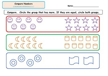 Kindergarten Math-Counting and Cardinality C.6-C.7 Compare Numbers