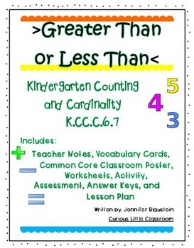 Kindergarten Common Core Math Counting and Cardinality-Greater Than or Less Than