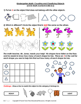 Kindergarten Math: Counting and Classifying Objects