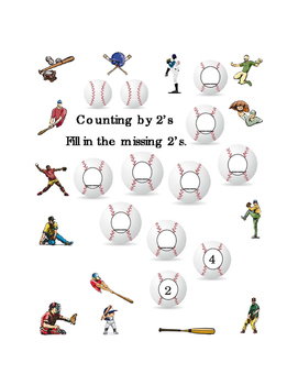 Kindergarten Math Counting by 2's Numbers Spring Baseball Printable Common Core