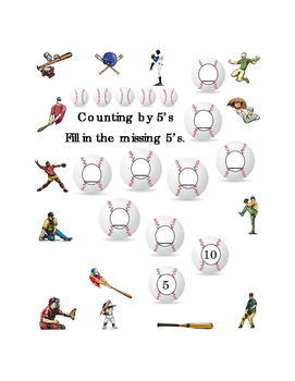 Kindergarten Math Counting by 5's Numbers Spring Baseball Printable Common Core