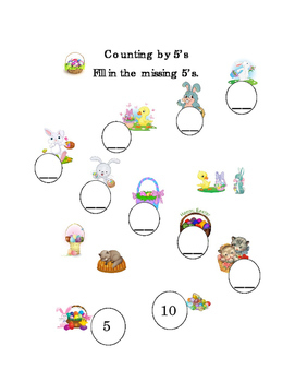 Kindergarten Math Counting by 5's Numbers Spring Easter Pr
