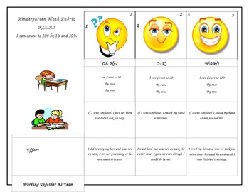 Kindergarten Math Counting to 100 Common Core Rubric