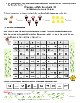 Kindergarten Math Counting to 100 at Home