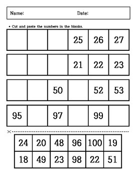 Kindergarten Math - Cutting and Paste - What is the Missing Numbers