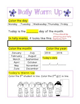 Kindergarten Math Daily Warm Ups for April