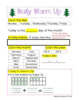 Kindergarten Math Daily Warm Ups for December