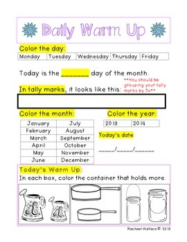 Kindergarten Math Daily Warm Ups for January
