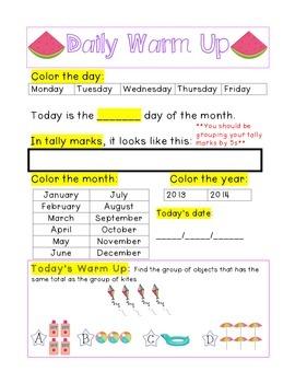 Kindergarten Math Daily Warm Ups for June