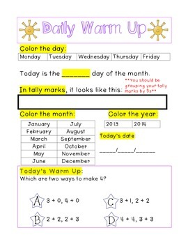 Kindergarten Math Daily Warm Ups for May