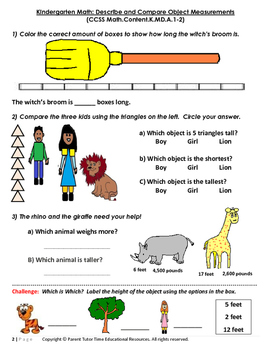 Kindergarten Math: Describe and Compare Object Measurements