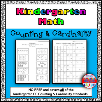 Kindergarten Math: Differentiated No-Prep Counting & Cardinality Packet