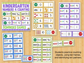 Kindergarten Math Dominoes Matching Games: Numbers, Counting, Ten Partners
