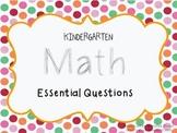 Kindergarten Math Essential Questions {Common Core}