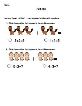 Kindergarten Math Exit Slips