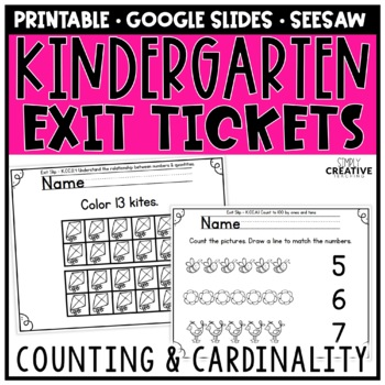 Kindergarten Math Exit Slips Counting & Cardinality