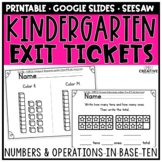 Kindergarten Math Exit Slips Numbers & Operations in Base Ten