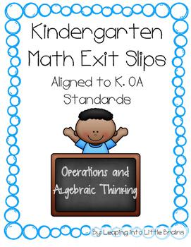 Kindergarten Math Exit Slips Operations and Algebraic Thinking