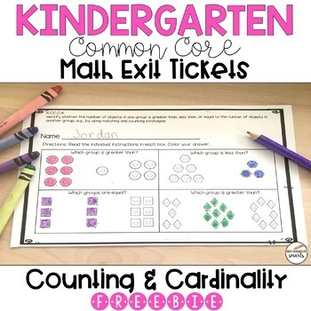 Kindergarten Math Exit Ticket - Counting and Cardinality - Freebie