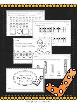 Kindergarten Math Exit Tickets All Year (Math in Focus)