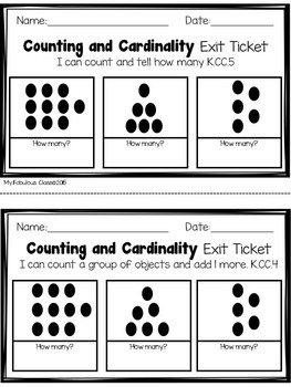Kindergarten Math Exit Tickets- Counting and Cardinality