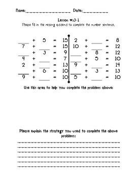Kindergarten Math Expressions Common Core! Challenge Packet UNIT 3
