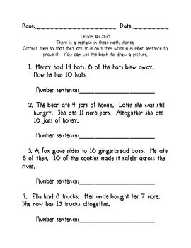 Kindergarten Math Expressions Common Core! Challenge Packet UNIT 5