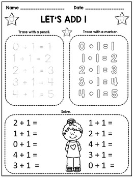 Kindergarten Math Facts Fluency: Trace and Solve