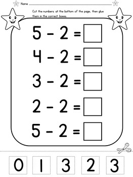 Kindergarten Addition and Subtraction to 5 Cut and Paste