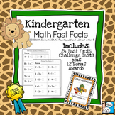 Kindergarten Math Fast Facts Addition and Subtraction
