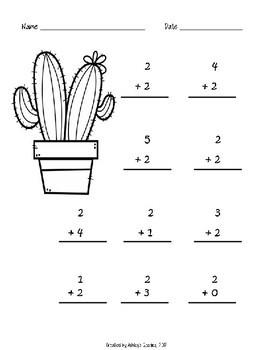 Kindergarten Math Fluency Addition 0-10 Worksheet BUNDLE (N.MR.00.09/K.OA.A.2)